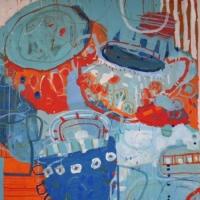'Afternoon Tea Around Lake Atitlan' 2015 acrylic on canvas  91 cm x 91 cm-min