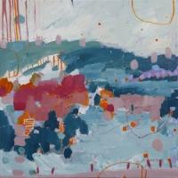 Kate Gorman_Crimson Blossom_2017_Acrylic on Linen_52x52cm